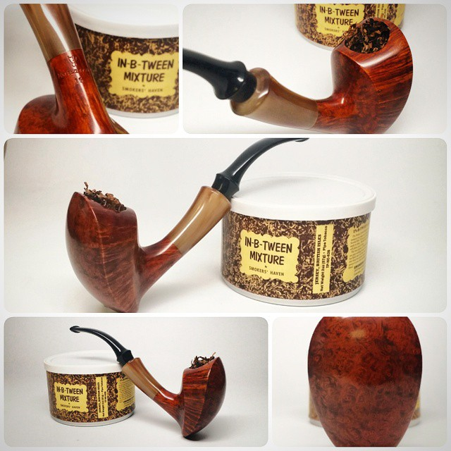 My trade souvenir with Michail Kyriazanos from the #ChicagoPipeShow 2015. Smoking now with @smokershaven In-B-Tween Mixture. Thank you for the trade Michail, love this pipe! #artisanpipe #fromgreece
